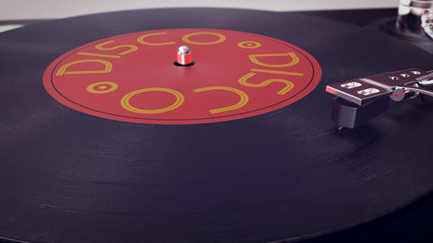 Vinyl player plays Disco disc Animation