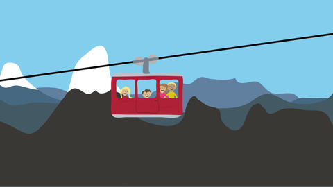 Family riding a cable car in the alps. Animated character with flat design. Wint Animation