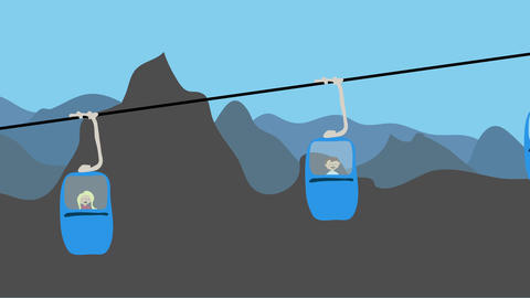 Family riding cable car up a mountain. Animated character with flat design. Adve Animation