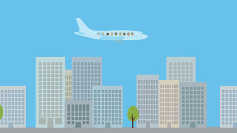 Passenger airplane flying over city. Animated character with flat design. Concep Animation