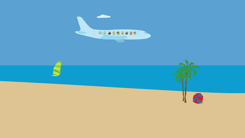 Passenger airplane flying over ocean beach. Animated character with flat design. Animation
