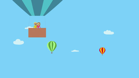 Hot air balloon with happy man and woman flying in blue sky with clouds. Animate Animation