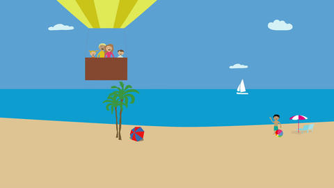Hot air balloon with family flying over beach and ocean. Animated character with Animation