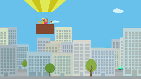 Hot air balloon with family flying over city. Animated character with flat desig Animation