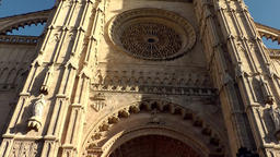 Spain Palma de Mallorca 049 Gothic style Cathedral portal with big rose window Footage