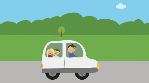 Family with dad and children driving car in nature. Concept of summer vacation,  Animation