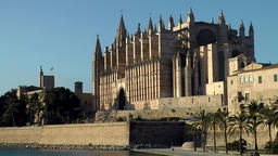 Spain Palma de Mallorca 059 Gothic style Cathedral southeast view at evening Footage