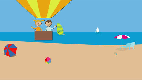Hot air balloon with children flying over beach and ocean. Animated character wi Animation