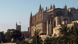 Spain Palma de Mallorca 062 Cathedral during sunset seen from southeast side Footage