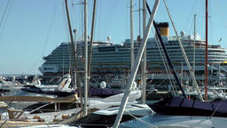 Spain Palma de Mallorca 071 big Costa cruise ship behind yachts in marina Footage