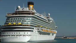 Spain Palma de Mallorca 072 big cruise ship Costa Diadema in the harbor Footage