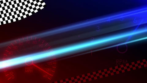 Loop-Ready Racing Flags Waving Speedometer Seamless Loop Motion Background 2 Animation