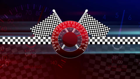 Loop-Ready Racing Flags Waving Speedometer Seamless Loop Motion Background 1 Animation