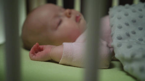 Side View of Sleeping Newborn Baby Dolly Shot Close Up Footage