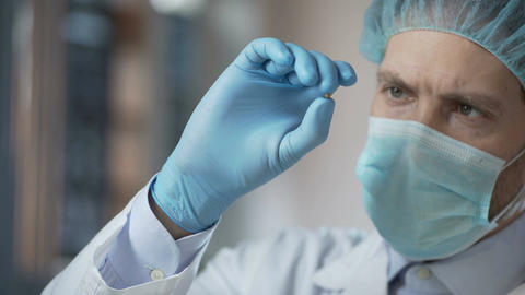 Food laboratory worker carefully checking quality of cereals harvest for export Footage