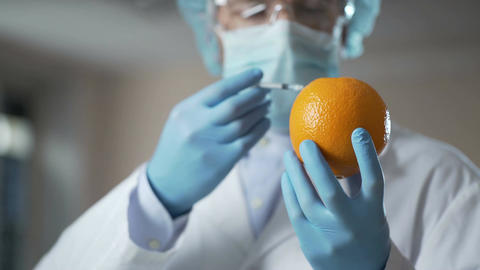 Doctor injecting serum into orange, showing procedure of liposuction to clients Footage