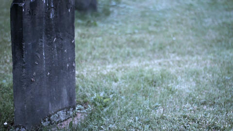 Camera pans to old crumbling tombstones in wet marshy cemetery - creepy handheld Footage