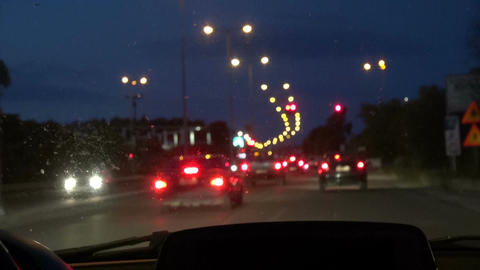 Evening traffic. The city and cars lights, motion blur Footage