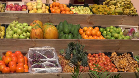 fresh fruits, vegetables and mushrooms in Spanish market Footage