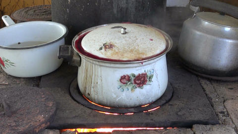 Boiling pot on stove Footage