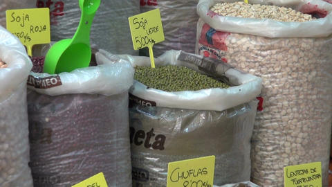 various ecological healthy vegetarian peas, beans and seeds in spanish market Footage