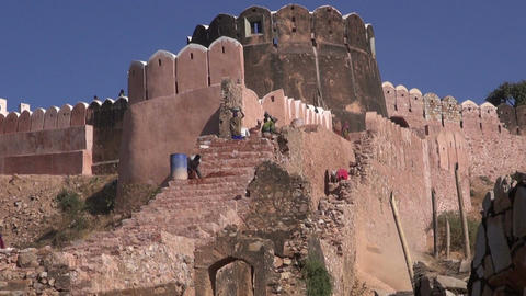 workers in Jaipur red city Nahargarh fort in Rajasthan, India Footage