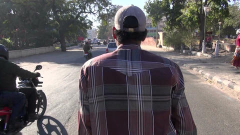 traveling with bicycle rickshaw in asia street, India Footage
