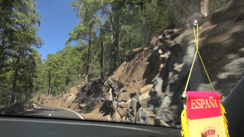 View from a car window going through Teide National Park in Spain Footage