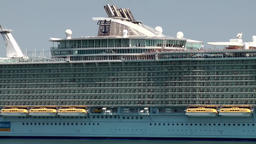 Spain Palma de Mallorca 123 cruise ship Allure of the Seas goes backwards to sea Footage