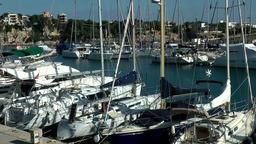 Spain Mallorca Island small town Porto Cristo 001 marina berth for sailing boats Footage