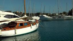 Spain Mallorca Island small town Porto Cristo 003 sailing boats in blue water Footage