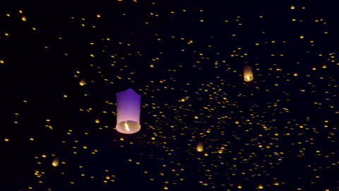 Sky Lanterns Fly Into The Night Sky Footage