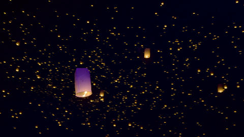 Sky Lanterns Fly Into The Night Sky Stock Video Footage