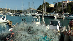 Spain Mallorca Island small town Porto Cristo 008 fishing nets and boats Footage