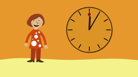 Happy woman and time moving fast. Animated character with flat design. Concept o Animation