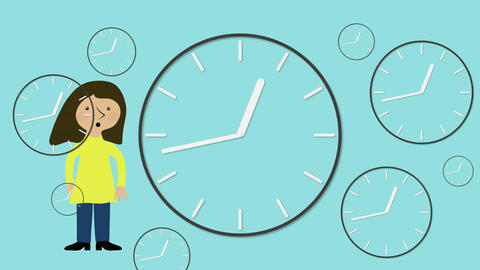 Stressed woman and time moving fast. Animated character with flat design. Concep Animation