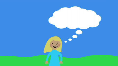 Happy woman and thought bubble with copyspace in nature. Animated character with Animation