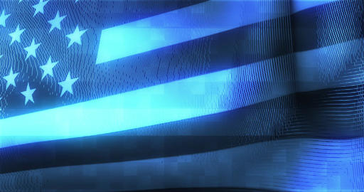Futuristic Glitching American flag waving in computer technology ominous environ Live Action