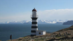 Petropavlovsk Lighthouse on coast of Pacific Ocean. Petropavlovsk City, Russian