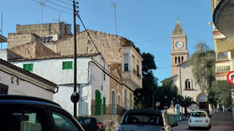 Spain Mallorca Island small town Porto Cristo 028 street at hillside with church Footage