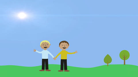 Two gay men holding hands in nature. Animated character with flat design. Concep Animation