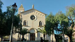 Spain Mallorca Island small town Porto Cristo 030 church between pine trees Footage