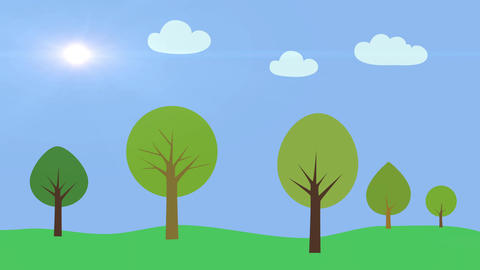 Nature background. Green summer landscape with trees and white clouds. Cartoon s Animation