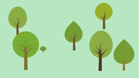 Nature background with trees growing. Cartoon style with flat design Animation