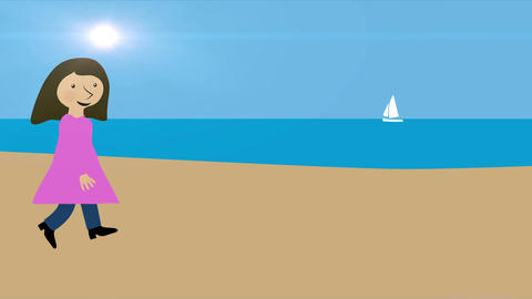 Woman walking on beach. Summer vacation by the sea. Animation with concept of ho Animation