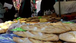 Spain Mallorca Island Sineu village 011 baguette bread on weekly market Footage