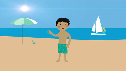 Woman in sail boat and man on beach. Summer vacation at the sea. Animation with  Animation