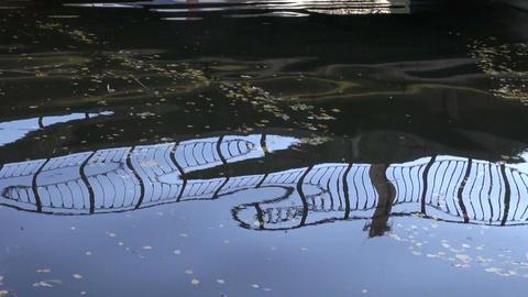 Bridge reflection in water Footage