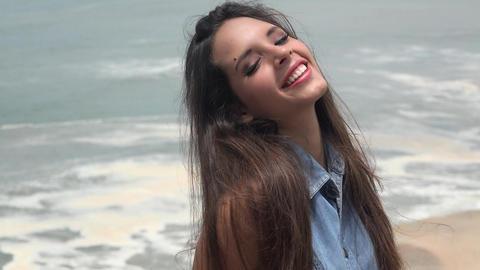Teenage Girl By Water Footage