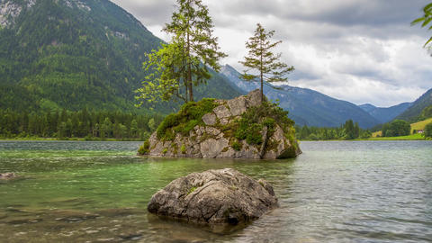 Cloudy Morning at Hintersee Lake. Time Lapse Footage